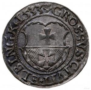 grosz 1533, Elbląg; końcówka napisu na awersie PRVSSI; ...