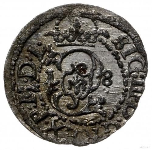 szeląg 1618, Wilno; odwrócony monogram S, tarcze herbow...