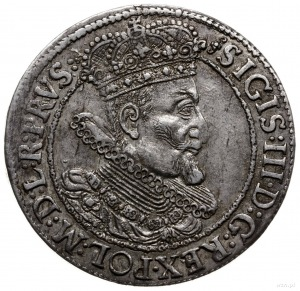 ort 1616, Gdańsk; popiersie króla z szeroką kryzą, na a...