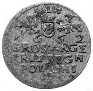 trojak 1662, Kraków; bez rozetek po bokach herbu Ślepow...