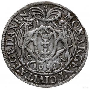 ort 1651, Gdańsk; duże popiersie w podwójnej obwódce, z...