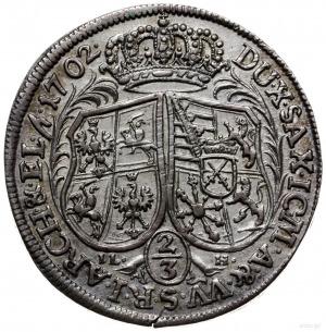 2/3 talara (gulden) 1702, Drezno; IL-H pod tarczami, ha...