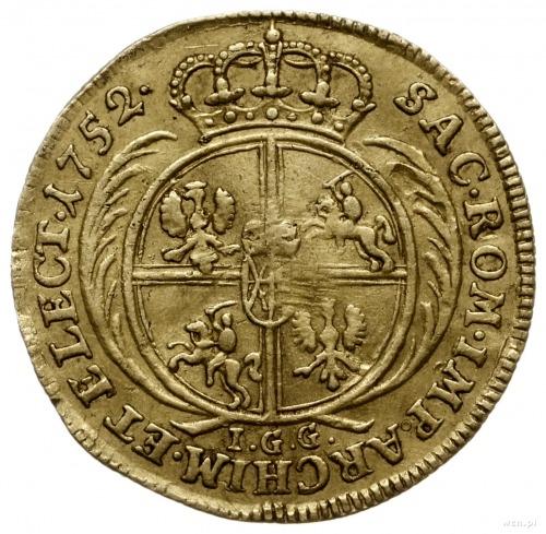 dukat 1752, Lipsk; Aw: Popiersie króla w zbroi i koroni...