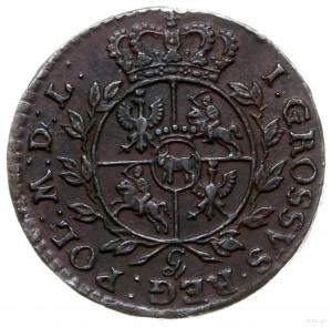 grosz 1765 g, Kraków; odmiana z małą literą g pod tarcz...