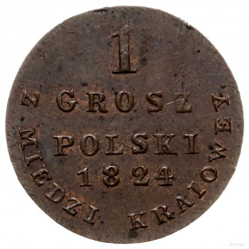1 grosz polski z miedzi krajowej 1824, Warszawa; Bitkin...