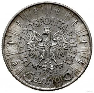 5 złotych 1934, Warszawa; Józef Piłsudski; Parchimowicz...
