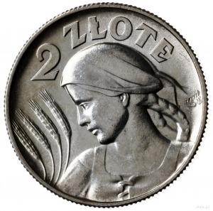 2 zlote 1925 (z kropką), Londyn; popiersie kobiety z kł...