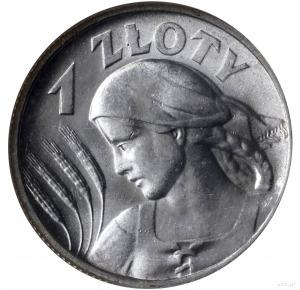 1 złoty 1925, Londyn; popiersie kobiety z kłosami; Parc...