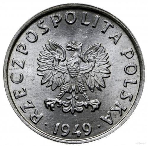 5 groszy 1949, Warszawa; Nominał, wklęsły napis PRÓBA; ...
