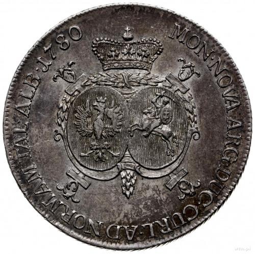 talar 1780, Mitawa; Aw: Głowa księcia w prawo i napis w...