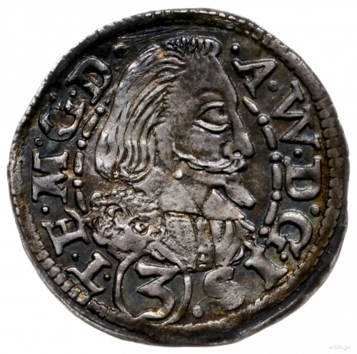 3 krajcary 1608, Cieszyn; wariant z małą głową księcia ...