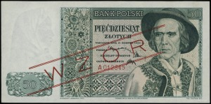 50 złotych 15.08.1939, seria A 012345, czerwony ukośny ...