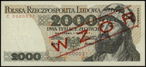 2.000 złotych 1.05.1977, seria F, numeracja 0000013, ob...