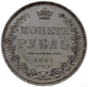 rubel 1851 СПБ ПА, Petersburg; Św. Jerzy bez płaszcza, ...