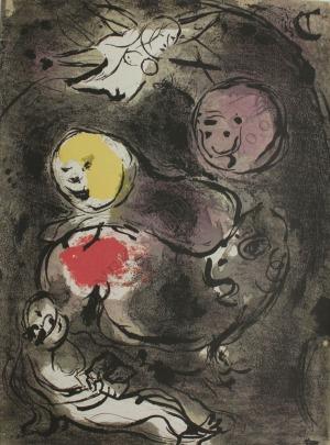 """Marc Chagall (1887-1985), Prorok Daniel i lwy(z """"Ilustracje do Biblii"""", edycja S.P.A.D.E.M., 1985)"""