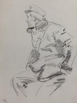 Wojciech KOSSAK (1857-1942), Studium ułana siedzącego [na koniu – strzelającego z pistoletu] – szkic