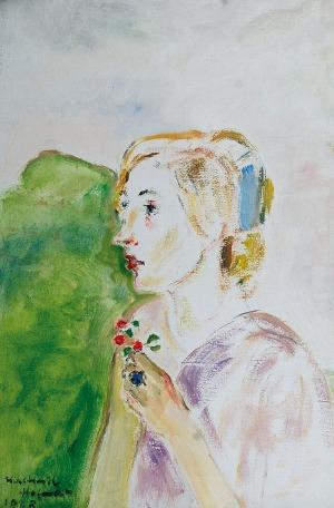 Wlastimil HOFMAN (1881-1970), Dziewczyna z czerwonymi kwiatami, 1968