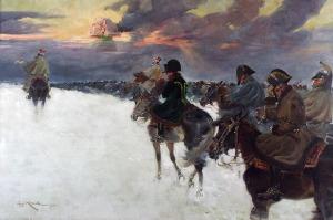 Jerzy KOSSAK (1886-1955), Odwrót Napoleona spod Moskwy, 1924