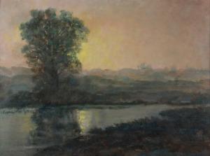 Stefan FILIPKIEWCZ (1879-1944), Pejzaż o zachodzie słońca