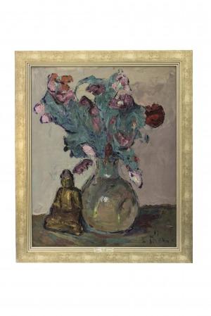 Włodzimierz Terlikowski (1873-1951), Kwiaty i figurka Buddy
