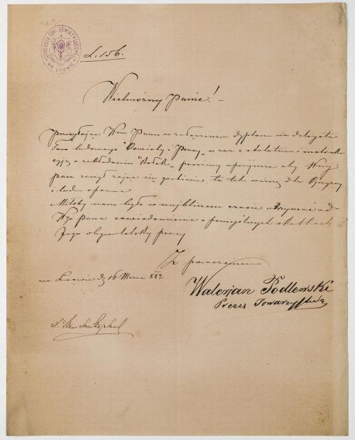 LIST DYREKCJI TOWARZYSTWA OŚWIATY LUDOWEJ WE LWOWIE, 16.03.1882