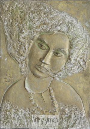 Zygmunt Makowski, Plakieta - Portret kobiety w kwiatach II