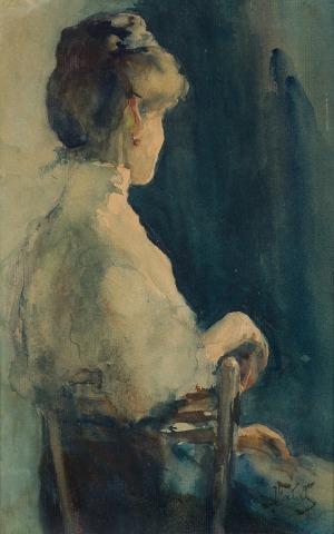 Fałat Julian, PANI Z CZERWONYM KOLCZYKIEM, PRZED 1900