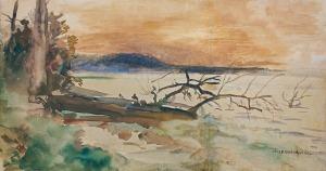 Chełmoński Józef, ZACHÓD SŁOŃCA NAD JEZIOREM ŚWITEŹ, 1898