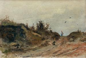 Brandt Józef, PEJZAŻ Z WĘDRUJĄCĄ KOBIETĄ, OK. 1870