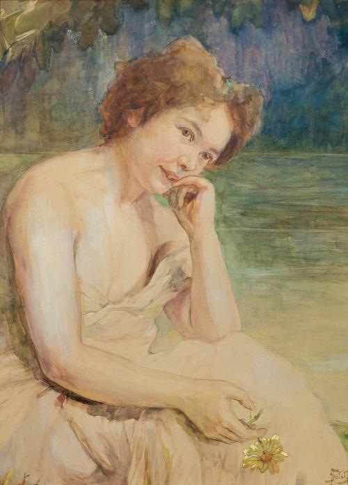 Fałat Julian, RUDOWŁOSA.PORTRET KOBIETY NA TLE PEJZAŻU,OK.1900