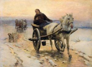 Ajdukiewicz Zygmunt, DWUKÓŁKĄ PO ŚNIEGU I LODZIE, OK. 1890