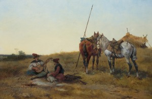 Rybkowski Tadeusz, ODPOCZYNEK KOZAKÓW NA STEPIE, 1886