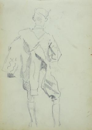 Wojciech Kossak (1856-1942), Ułan z kurtką przewieszoną na ramieniu-ujęty z tyłu ołówek, papier; 21x15 cm