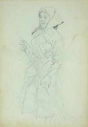 Wojciech Kossak (1856-1942), Dziewczyna wiejska z grabiami ołówek, papier; 21x15 cm, na odwrocie: wiejska dziewczyna ocierająca czoło