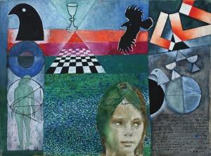 Zbigniew Makowski (1930), ZIELONY LĘK MNIE ZDJĄŁ/ZIELONA I MIECZ PARACELSUSA (PRACA DWUSTRONNA), 2006 r.