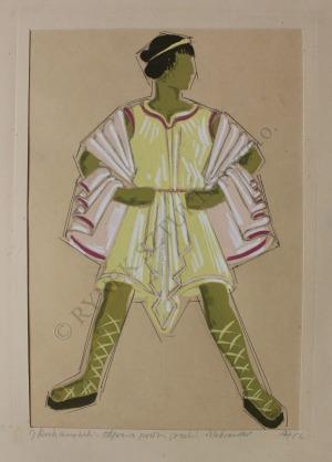 """Adam Jabłoński (1922-1973), Projekty kostiumów do """"Odprawy posłów greckich"""" Jana Kochanowskiego: Aleksander, Chorus z panien trojańskich (1956)"""