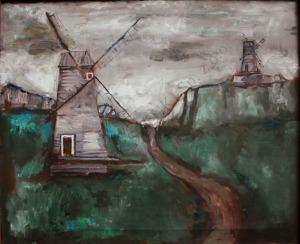 Jerzy Nowosielski (1923-2011), Pejzaż z wiatrakami (1957)