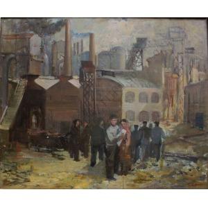 Tadeusz Roman (1906-1983), Widok na kopalnię(wystawa ZPAP, Łódź 1952)