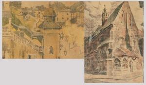 Józef CZAJKOWSKI (1872-1947), Para litografii z motywami Krakowa