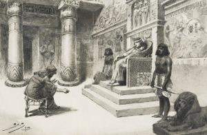 Stanisław SAWICZEWSKI (1866-1943), Przed faraonem - ilustracja, 1913