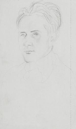 Wlastimil HOFMAN (1881-1970), Portret młodego mężczyzny - kartka ze szkicownika