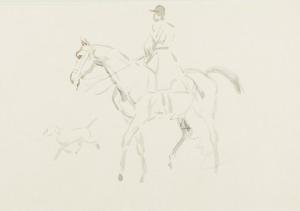 Karol KOSSAK (1896-1975), Jeździec na koniu i biegnący pies