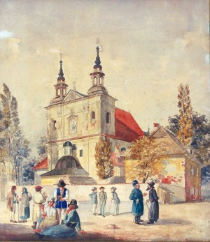 Antoni KOZAKIEWICZ (1841-1929), Przed kościołem św. Floriana w Krakowie, ok. 1880