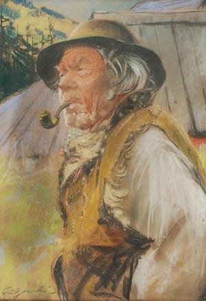 Stanisław GÓRSKI (1887-1955), Góral z fajką