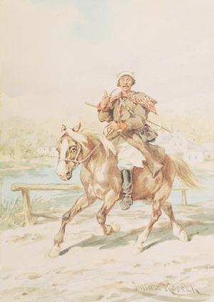 Juliusz KOSSAK (1824-1899), Posłaniec wiejski, ok. 1895