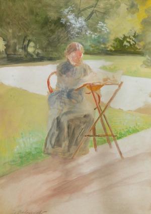 Jacek MALCZEWSKI (1854-1929), W ogrodzie w Lusławicach - Bronisława Malczewska, siostra artysty, ok. 1924