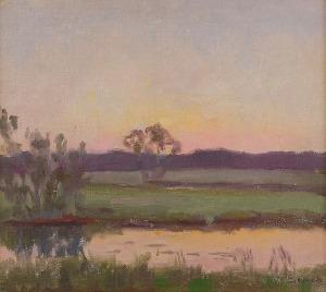 Teodor ZIOMEK (1874-1937), Pejzaż o zachodzie słońca, ok. 1920