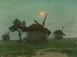 Iwan TRUSZ (1869-1940), Pejzaż z wiatrakiem