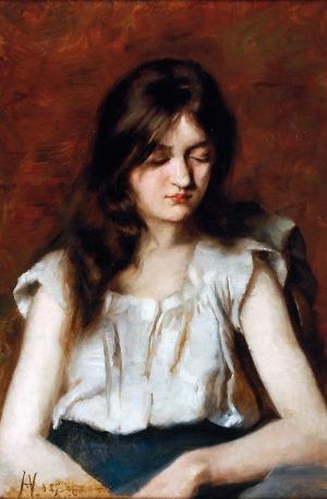 Aleksiej Alieksiejewicz CHARLAMOW (1840-1925), Dziewczyna w białej bluzce, 1886