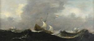 Antonisz Aert VAN ANTUM (1579-1620), Statki na wzburzonym morzu